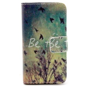 Color Painting Leather Wallet Stand Case for iPhone 4/4S - Flying Birds Be Free