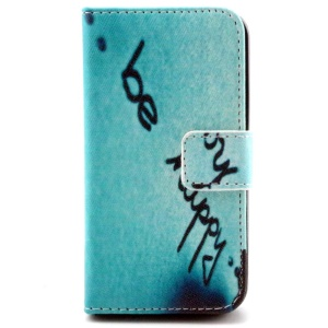 Light Blue Color Painting Wallet Stand Leather Case for iPhone 4/4S - Be Happy Quote