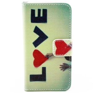 Colorful Leather Wallet Stand Case for iPhone 4/4S - Girl & Love Letters