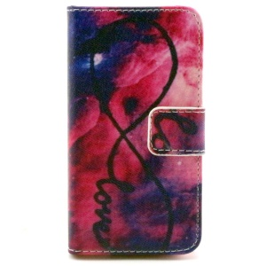 Color Painting Wallet Stand Leather Cover Case for iPhone 4/4S - Love Infinity Forever