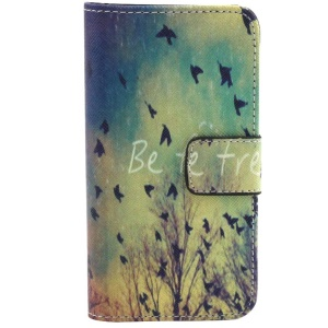 Flying Birds & Be Free Wallet Leather Stand Case for iPhone 5c