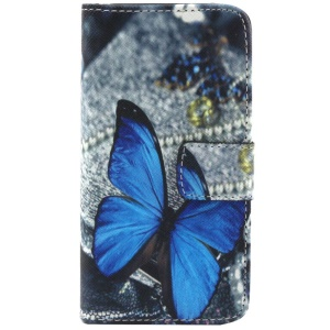 Blue Butterfly Wallet Leather Cover w/ Stand for iPhone 5c