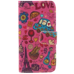 Eiffel Tower & Colorized Hearts Wallet Leather Stand Case for iPhone 5c