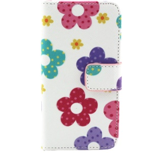Colorized Flowers Magnetic Wallet Leather Case for iPhone 5c