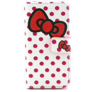 Polka Dots & Bowknot Magnetic Wallet Leather Cover for iPhone 5c