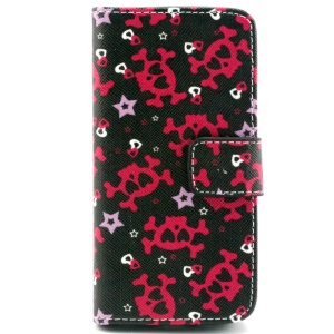 Skull & Heart Flip Wallet Leather Stand Shell for iPhone 5c