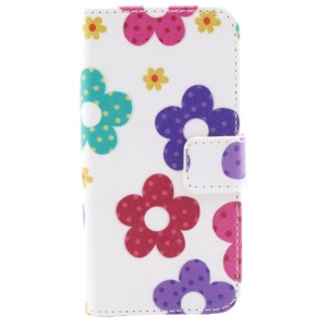 Colorized Flowers Flip Wallet Stand Leather Case for iPhone 5s 5