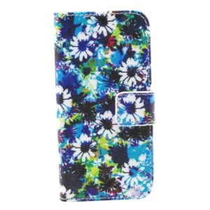 Blue & White Flowers Wallet Stand Leather Shell for iPhone 5s 5