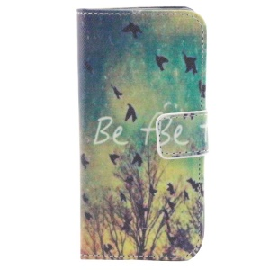 Flying Birds & Be Free Wallet Stand Leather Shell for iPhone 5s 5