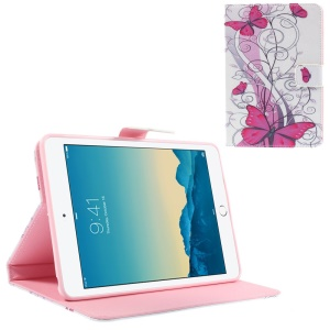 Fushia Butterflies & Floret Smart Leather Stand Cover for iPad mini 1 2 3