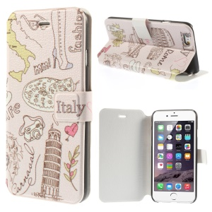 The Leaning Tower of Pisa & Italy Elements Leather Case for iPhone 6 4.7 inch