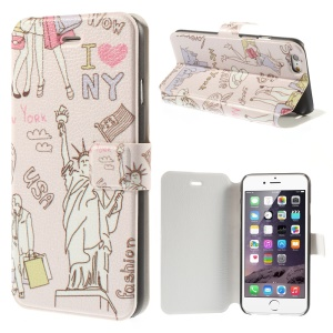 Statue of Liberty & New York Elements Leather Cover for iPhone 6 4.7 inch