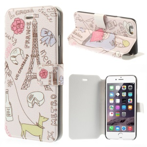France Eiffel Tower Flip Leather Stand Cover for iPhone 6 4.7 inch
