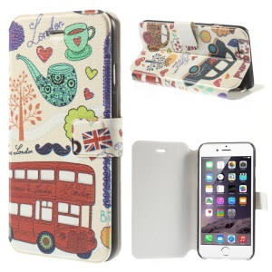 Red Bus & Hearts Flip Leather Stand Shell for iPhone 6 4.7 inch