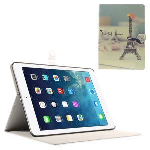 Eiffel Tower & Mustache for iPad Air Silk Leather Magnetic Stand Cover