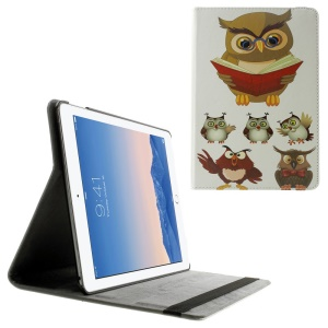 Smart Stand Leather Cover Case for iPad Air 2 w/ Elastic Band - Owl Reading Book