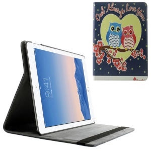 Smart Leather Cover for iPad Air 2 w/ Elastic Band - Owl Couple on the Flowered Tree