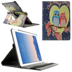 Rotating Stand Smart Leather Cover for iPad Air 2 - Owl Couple on the Flowered Tree