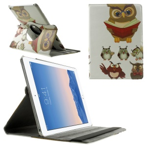 Smart Leather Cover 360-degree Rotating Stand for iPad Air 2 - Owl Reading Book