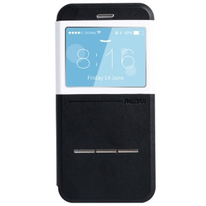 REMAX Elegance Series Window View Leather Case w/ Slide Answer Button for iPhone 6 Plus - Black / White