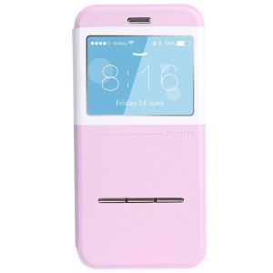 REMAX Elegance Series Window View Leather Shell w/ Slide Answer Button for iPhone 6 Plus - Pink / White