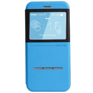 REMAX Elegance Series Window View Leather Case Cover w/ Slide Answer Button for iPhone 6 Plus - Blue / Black