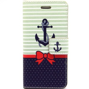 Cute Bowknot & Anchor Leather Magnetic Case w/ Stand for iPhone 6 Plus