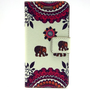 Elephant & Flowers Leather Magnetic Case Cover w/ Stand for iPhone 6 Plus