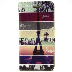 Eiffel Tower & Stripes PU Leather Stand Case Cover for iPhone 6 Plus