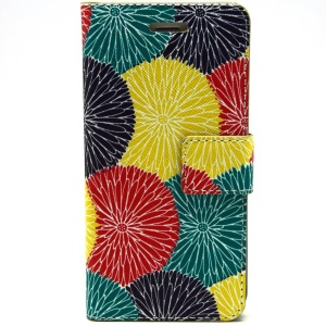 Beautiful Circle Flowers PU Leather Stand Cover for iPhone 6 Plus