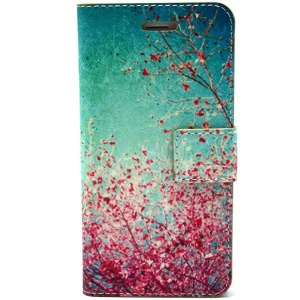 Red Flowers Leather Magnetic Cover w/ Stand for iPhone 6 Plus