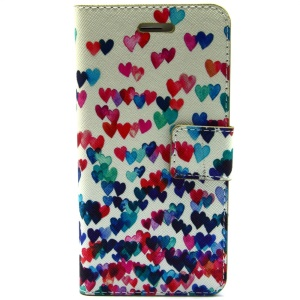 Colorized Hearts Leather Magnetic Case Stand for iPhone 6 Plus