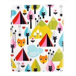 Lofter Stand Smart Leather Cover for iPad 2 / 3 / 4 - Fox Family