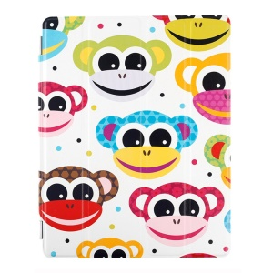 Lofter Stand Smart Leather Shell for iPad 2 / 3 / 4 - Smiling Monkey
