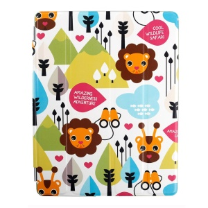 Lofter Stand Smart Leather Cover for iPad 2 / 3 / 4 - Lion Family