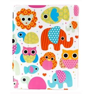 LOFTER Four-fold Stand Smart Leather Case for iPad 2 3 4 - Single Elephant & Owls