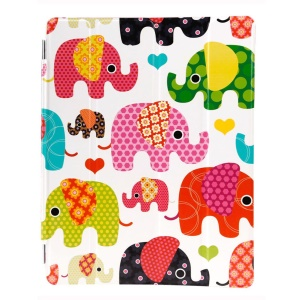 LOFTER Four-fold Stand Smart Leather Tablet Case for iPad 2 3 4 - Multi-color Elephants