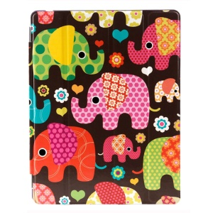 LOFTER Four-fold Smart Leather Stand Cover for iPad 2 3 4 - Classic Red Elephants