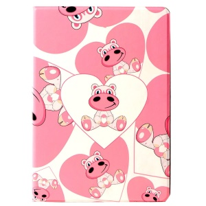 LOFTER Lolo Rocky Land Series Smart Leather Shell Stand for iPad Air - Love Hearts Hippo Mesi