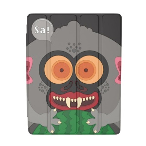 For iPad 2 / 3 / 4 OUNUO iHungry Monster Pattern 4-fold Stand Smart Leather Case - Monkey Sa