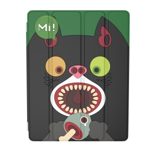 For iPad 2 / 3 / 4 OUNUO iHungry Monster Pattern 4-fold Stand Smart Leather Case - Cat Mi