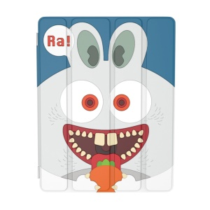 For iPad 2 / 3 / 4 OUNUO iHungry Monster Pattern 4-fold Stand Smart Leather Case - Rabbit Ra