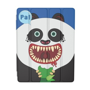 For iPad 2 / 3 / 4 OUNUO iHungry Monster Pattern 4-fold Stand Smart Leather Case - Panda Pa