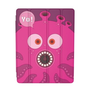 For iPad 2 / 3 / 4 OUNUO iHungry Monster Pattern 4-fold Stand Smart Leather Case - Octopus Yo