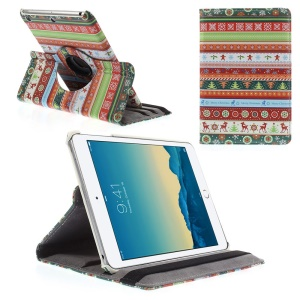 For iPad mini 1 2 3 Deer Snow Christmas Tree Stripes Pattern 360-degree Swivel Stand Smart Leather Cover w/ Elastic Band