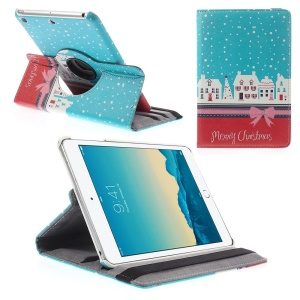 360-degree Swivel Stand Smart Leather Cover for iPad mini 1 2 3 w/ Elastic Band - Blue & Red Christmas Houses