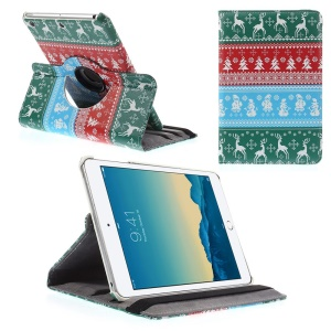 Cross Pattern 360-degree Swivel Stand Smart Leather Cover for iPad mini 1 2 3 - Deer, Santa and Christmas Tree