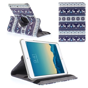 Cross Pattern 360-degree Rotary Smart Leather Stand Case for iPad mini 1 2 3 w/ Elastic Band - White Deer & Purple Snow