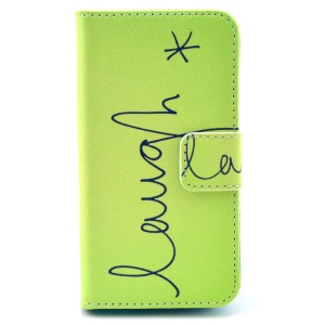Folio Stand Leather Wallet Case for iPhone 4 4s - Letter Laugh