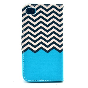 Folio Stand Leather Cover Wallet for iPhone 4 4s - Black & White Chevron Wave